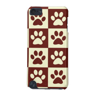 Maroon Checker Paw Pattern iPod Touch (5th Generation) Cases