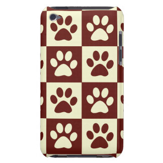 Maroon Checker Paw Pattern Barely There iPod Covers