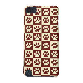 Maroon Checker Paw Pattern iPod Touch (5th Generation) Case