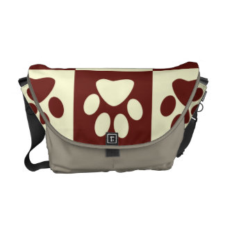 Maroon Checker Paw Pattern Courier Bag