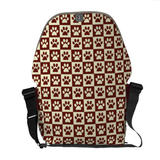 Maroon Checker Paw Pattern Commuter Bag