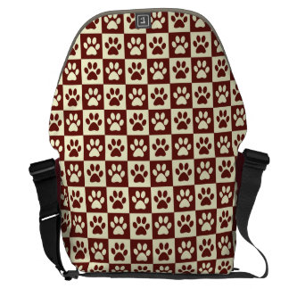Maroon Checker Paw Pattern Courier Bags