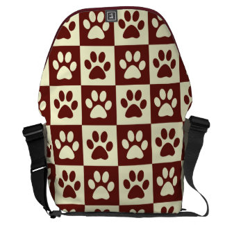 Maroon Checker Paw Pattern Messenger Bags