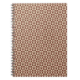 Maroon Checker Paw Pattern Spiral Notebook