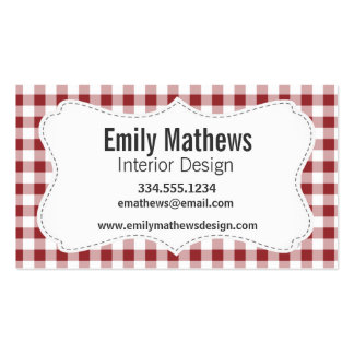 Maroon Checkered Pattern Business Card