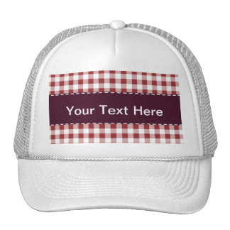 Maroon Checkered Pattern Trucker Hat