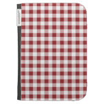 Maroon Checkered Pattern Kindle Case
