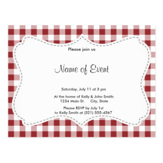 Maroon Checkered Pattern Postcards