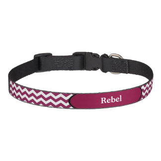 Maroon Chevron Black Trim Personalized Pet Collar