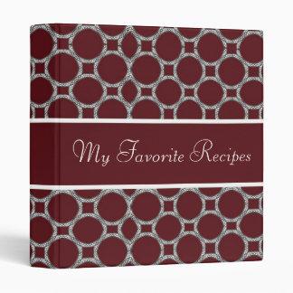 Maroon Circles Recipe Book Binder