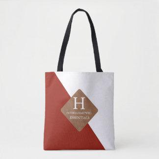 Maroon Color Split Faux Leather Patch Monogram Tote Bag