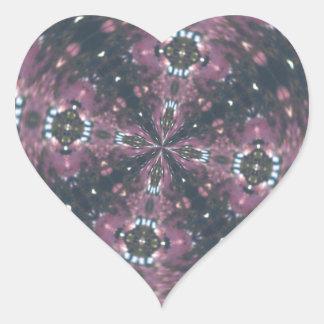Maroon Colored Starscape Kaleiscope Heart Sticker