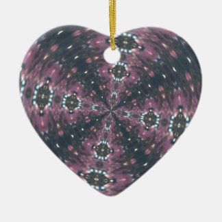 Maroon Colored Starscape Kaleiscope Double-Sided Heart Ceramic Christmas Ornament