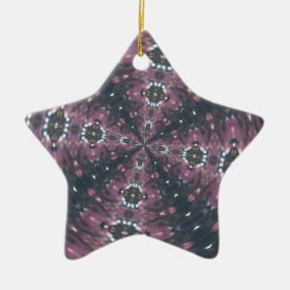 Maroon Colored Starscape Kaleiscope Double-Sided Star Ceramic Christmas Ornament