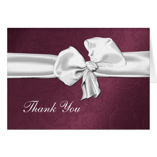 Maroon Damask Thank You Card