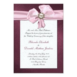 Maroon Damask Wedding Invitation