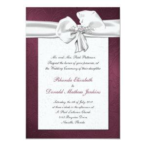 Maroon Damask Wedding Invitation 5