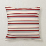 [ Thumbnail: Maroon, Dark Gray & Beige Stripes/Lines Pattern Throw Pillow ]