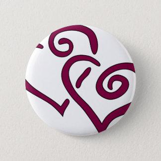 Maroon Double Heart Pinback Button