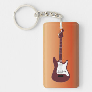 Maroon Electric Guitar, Red to Yellow Gradient Bac Keychain