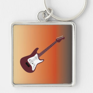 Maroon Electric Guitar, Red to Yellow Gradient Bac Silver-Colored Square Keychain