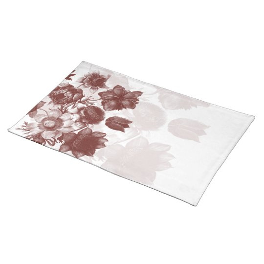 Maroon Elegant Flower Custom Placemats