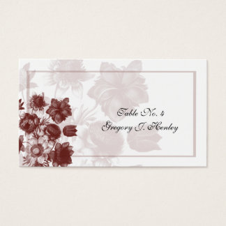Maroon Elegant Flower Wedding Table Place Cards