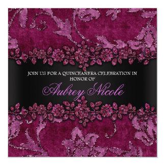 Maroon Faux Glitter & Velvet Floral Quinceanera 5.25x5.25 Square Paper Invitation Card
