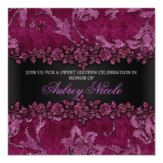 Maroon Faux Glitter & Velvet Floral Sweet Sixteen 5.25x5.25 Square Paper Invitation Card