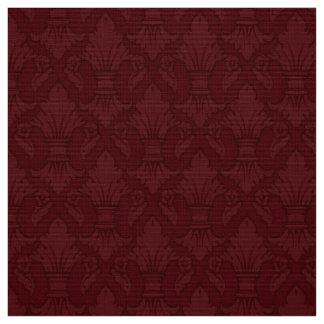 Maroon Fleur-de-lis Pattern Fabric