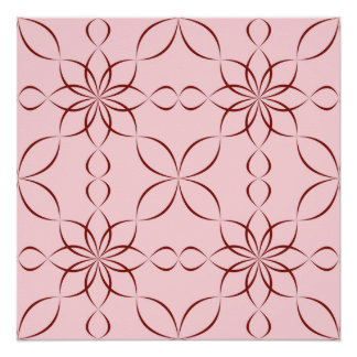 Maroon floral pattern poster