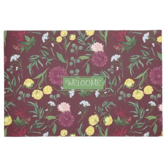 Maroon Floral Personalized Welcome Mat