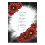 Maroon Floral Sunburst Wedding Invitations