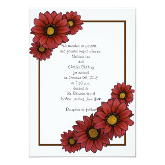 Maroon Floral Wedding Invitations With Brown Borde