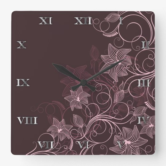 Maroon Flowers - Clock - 1B