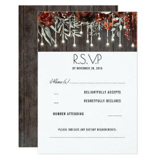Maroon Flowers Rustic String Lights Wedding RSVP Card