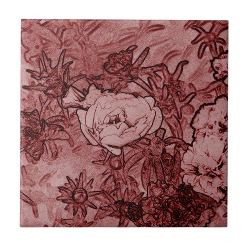 Maroon Flowers tile