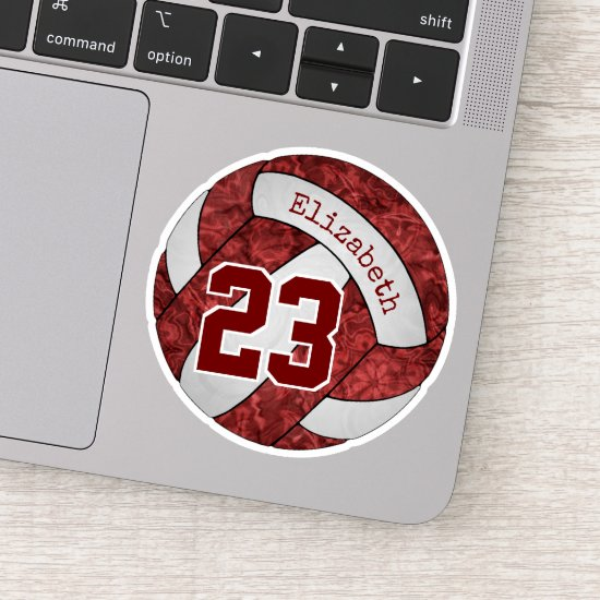 maroon girls' volleyball team colors name number sticker