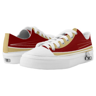 Maroon Gold and White Tres Lo-Top Printed Shoes