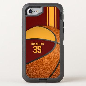 maroon gold basketball team colors varsity boys OtterBox defender iPhone 8/7 case