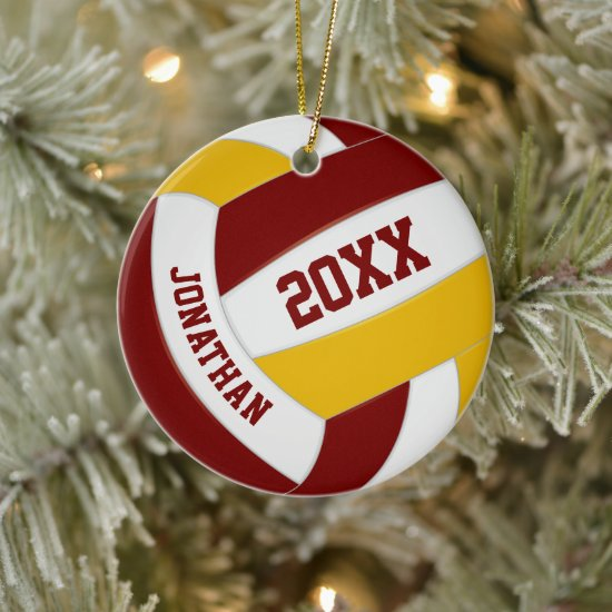maroon gold boys girls team colors volleyball ceramic ornament