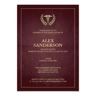 Maroon+Gold Caduceus Doctor Graduation Invitation