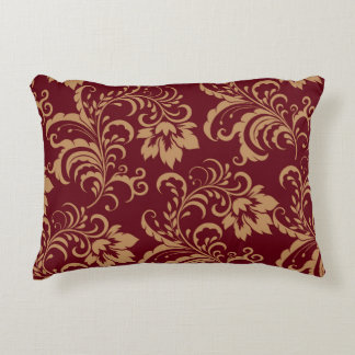Maroon Gold Floral Swirl Accent Pillow