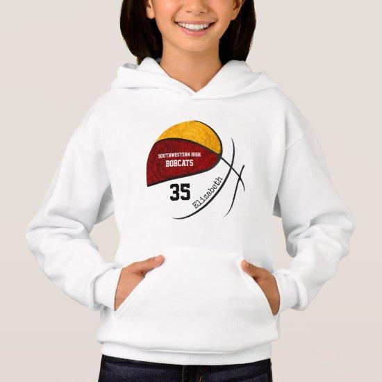 maroon gold girls' basketball team colors hoodie