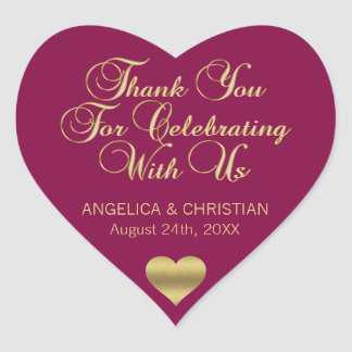 MAROON Gold Heart Thank you Wedding Seals
