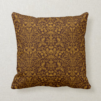 Maroon Gold Medieval Leaves Nature Design Pillow