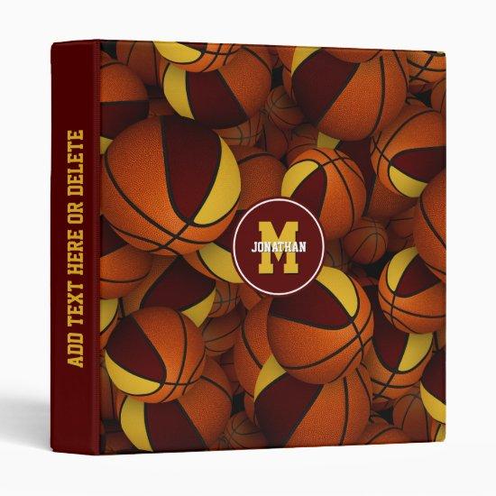maroon gold school colors boys girls basketball 3 ring binder