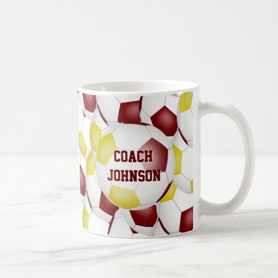 maroon gold soccer school team colors coach gift coffee mug