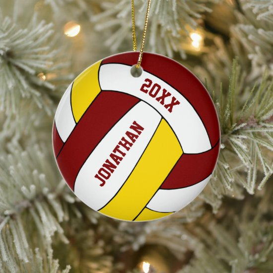 maroon gold sports team colors boys volleyball ceramic ornament