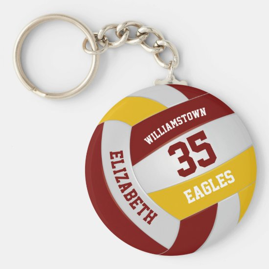 maroon gold sports team colors volleyball keychain